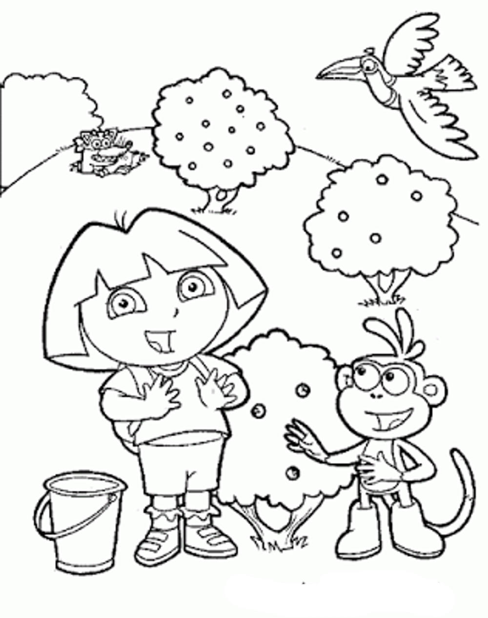 Dora Coloring Pages For Preschoolers
