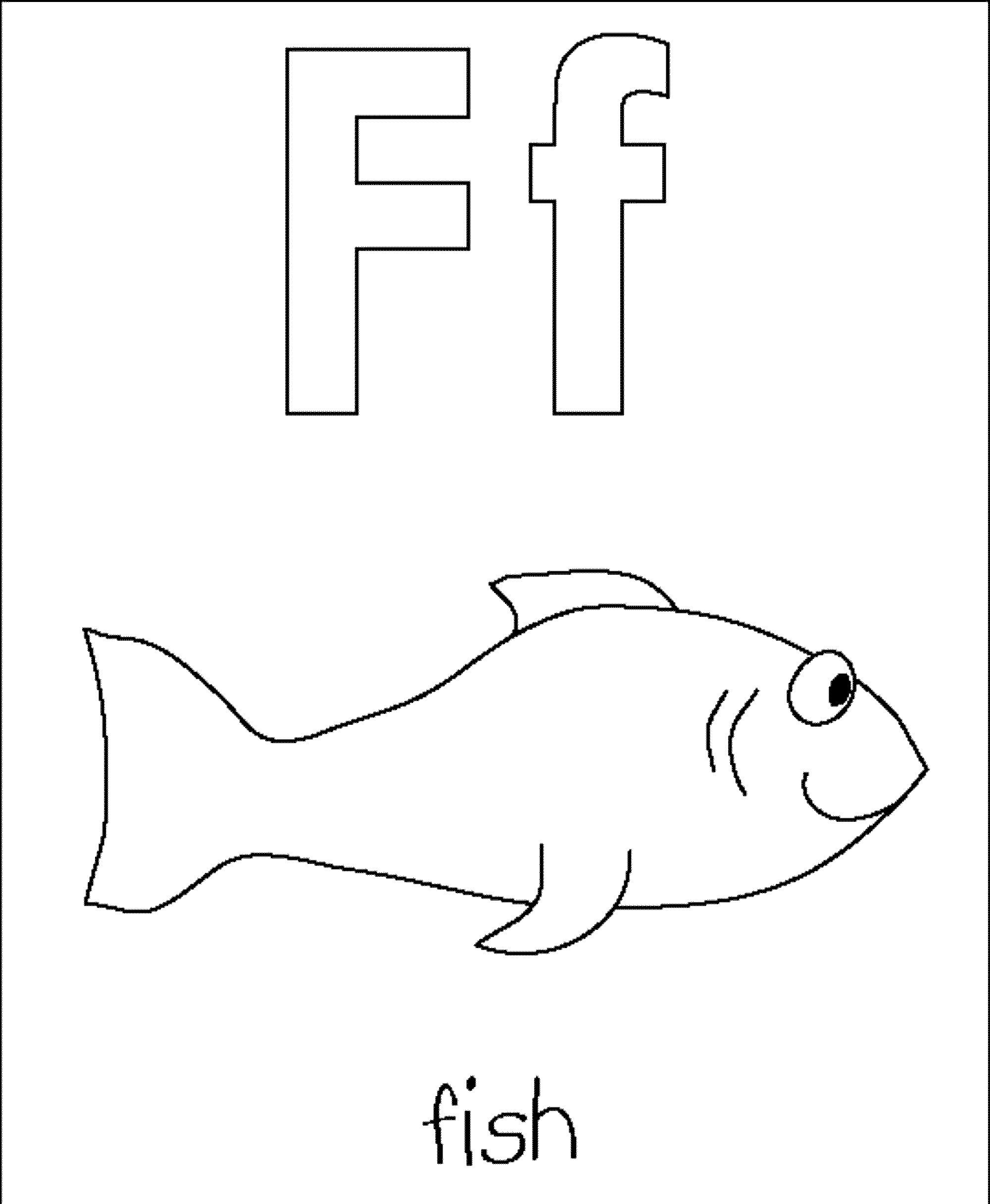 Letter F Fish Coloring Pages For Preschoolers