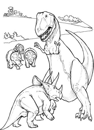 Triceratop-vs-t-rex-dinosaur-coloring-pages