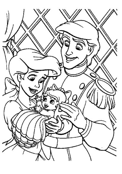 ariel-little-mermaid-coloring-pages-family-prince-and-kids