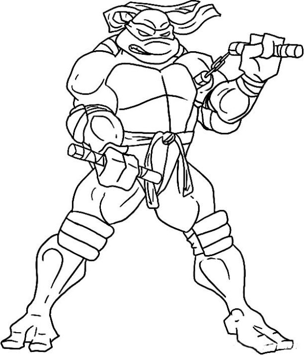 ninja turtles coloring pages michelangelo hard