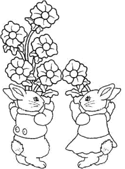 printable-flowers-coloring-pages-and-rabbit