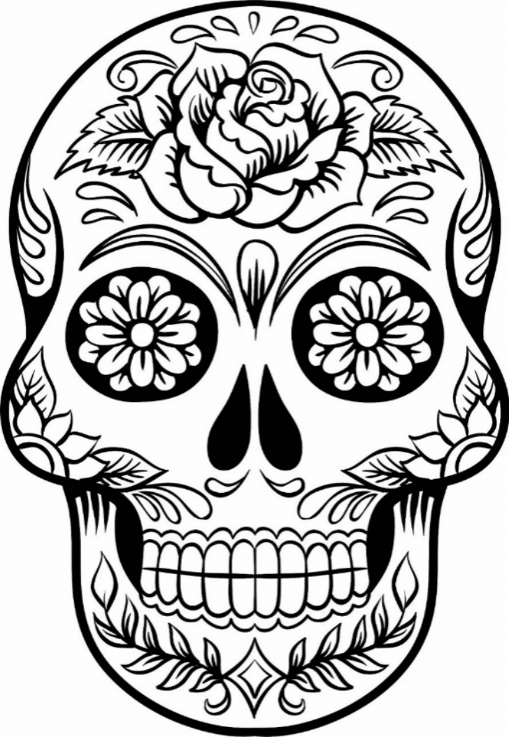 Print Download Sugar Skull Coloring Pages To Have Scary But