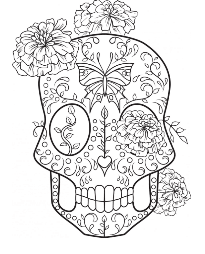 Gallery Of Sugar Skull Coloring Pages To Have Scary But Beautiful Pictures