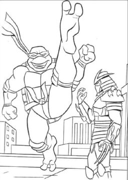 turtle-ninja-fight-coloring-pages