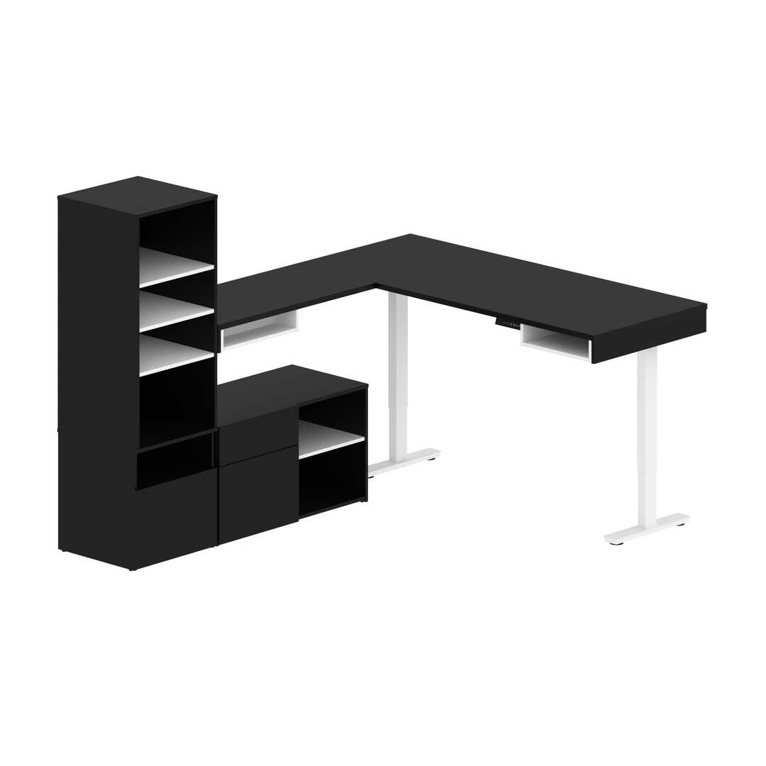 Viva 3 Piece Set Including An L Shaped Standing Desk A Credenza And A Hutch Bestar