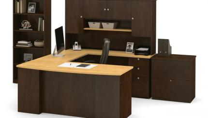 Manhattan U Or L Shaped Desk With Hutch A Lateral File Cabinet And A Bookcase Bestar