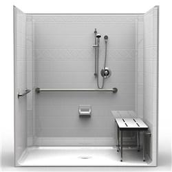 ada roll in shower one piece 71x47 diamond tile look