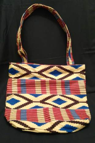 African Print Diamonds-and Stripes Bag
