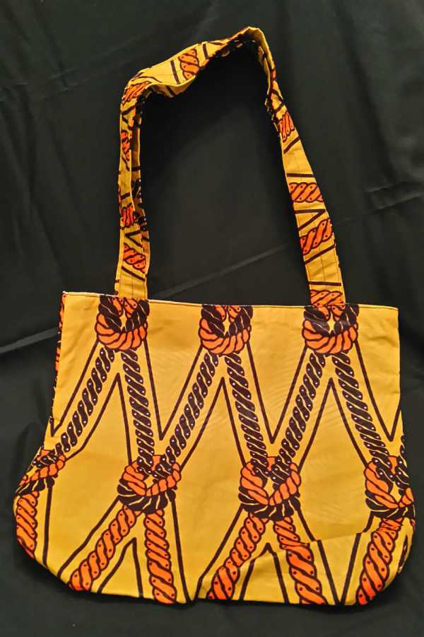 African Fabric Golden Knot Pattern Bag