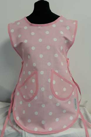 Childrens Pink and white polka dot Tabard