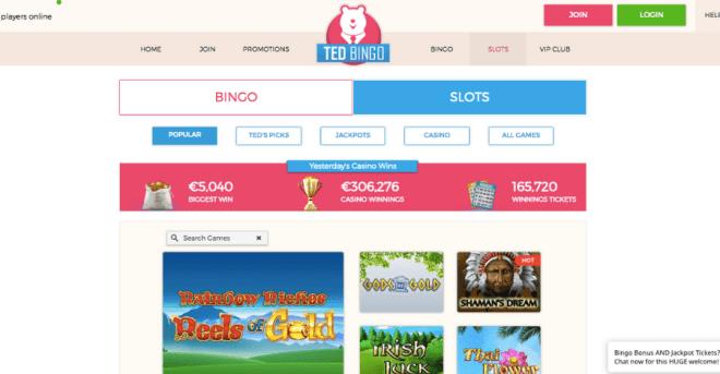 Ted Bingo Slots Page