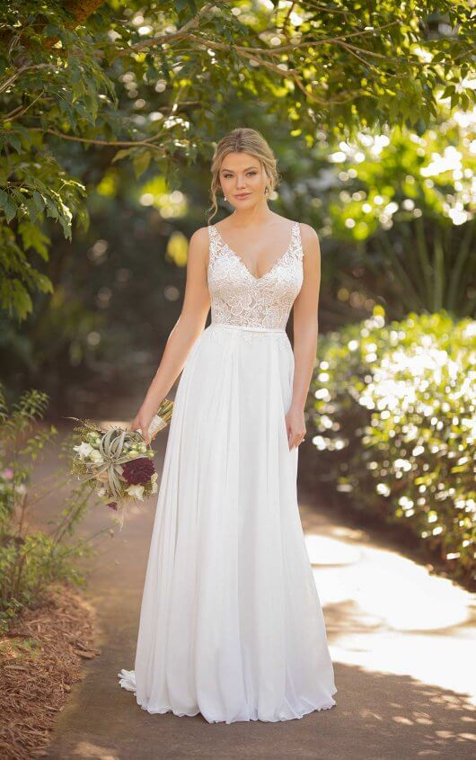 D3224 Chiffon And Floral Lace Wedding Dress By Essense Of Australia,Wedding Dress Washington Dc