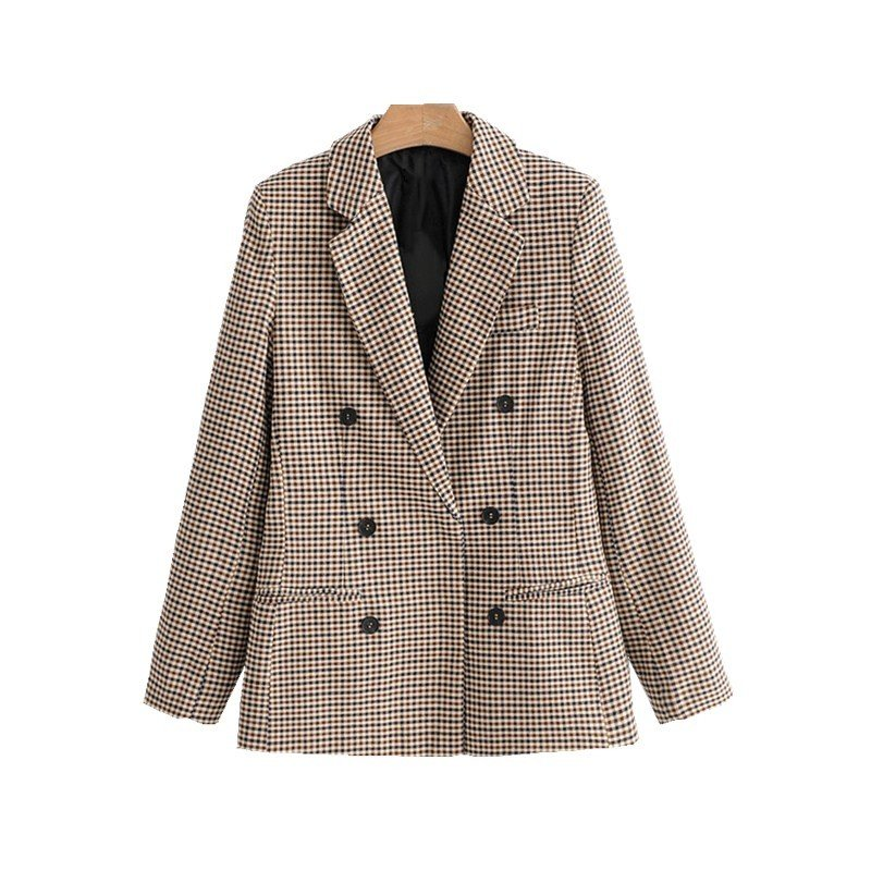 Women Elegant Plaid Blazer Suit Long Sleeve Double Breasted Slim Checked Coat Formal Office Work Jacket Houndstooth Outerwear 8