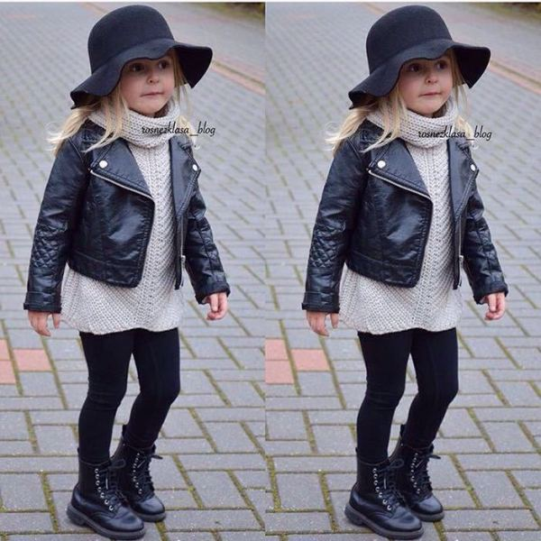 Wind PU Leather Leather Coat Baby Boys and Girls Short Children Jacket 1