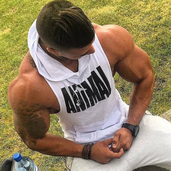 Men Bodybuilding Cotton Tank top Gyms Fitness Hooded Vest Sleeveless Shirt Summer Casual Fashion Workout Brand Clothing 2