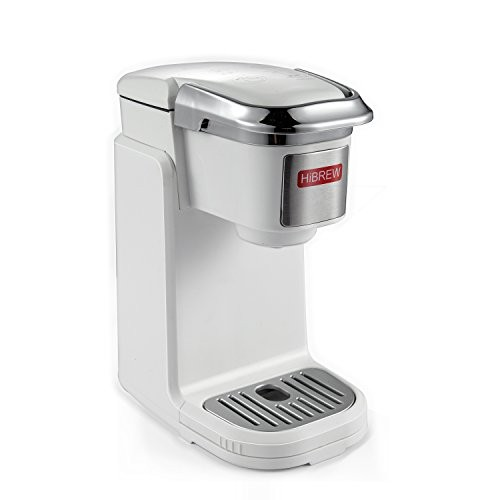 Hibrew Single Serve White Compact Portable Travel Size K Cup Coffee