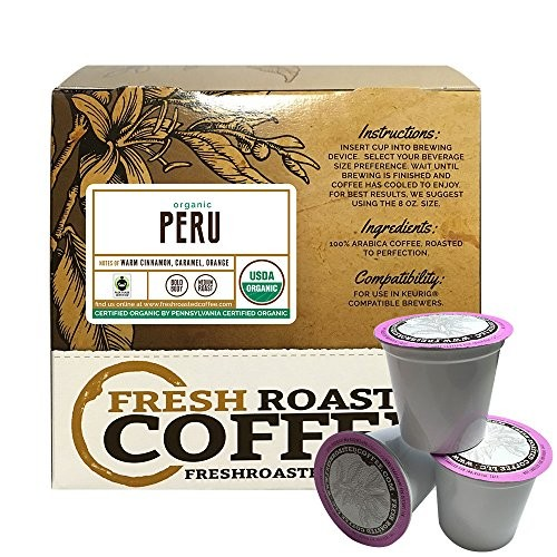 Peru Sol y Café FTO Single-Serve Cups, 18 ct  of Single Serve Capsules for  Keurig K-Cup Brewers, Fresh Roasted Coffee LLC