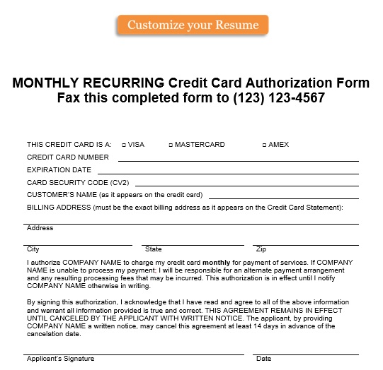 Customers pay with a credit. 28 Free Credit Card Authorization Forms Templates Word Pdf Bestcollections