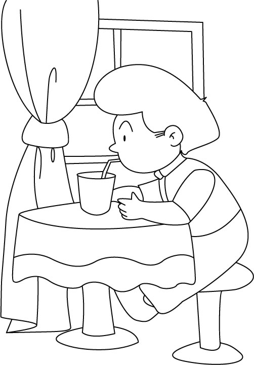 drinking water  a straw coloring pages  download free