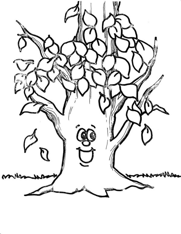 fall tree coloring page # 12