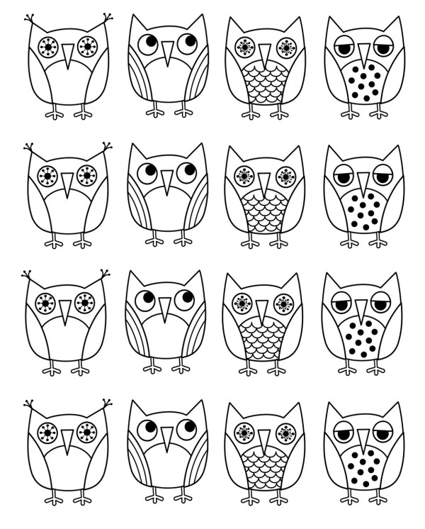 owl color pages # 11