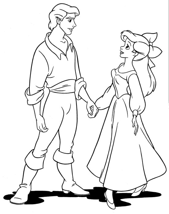 Free Able Ariel Coloring Pages Little Mermaid And Eric