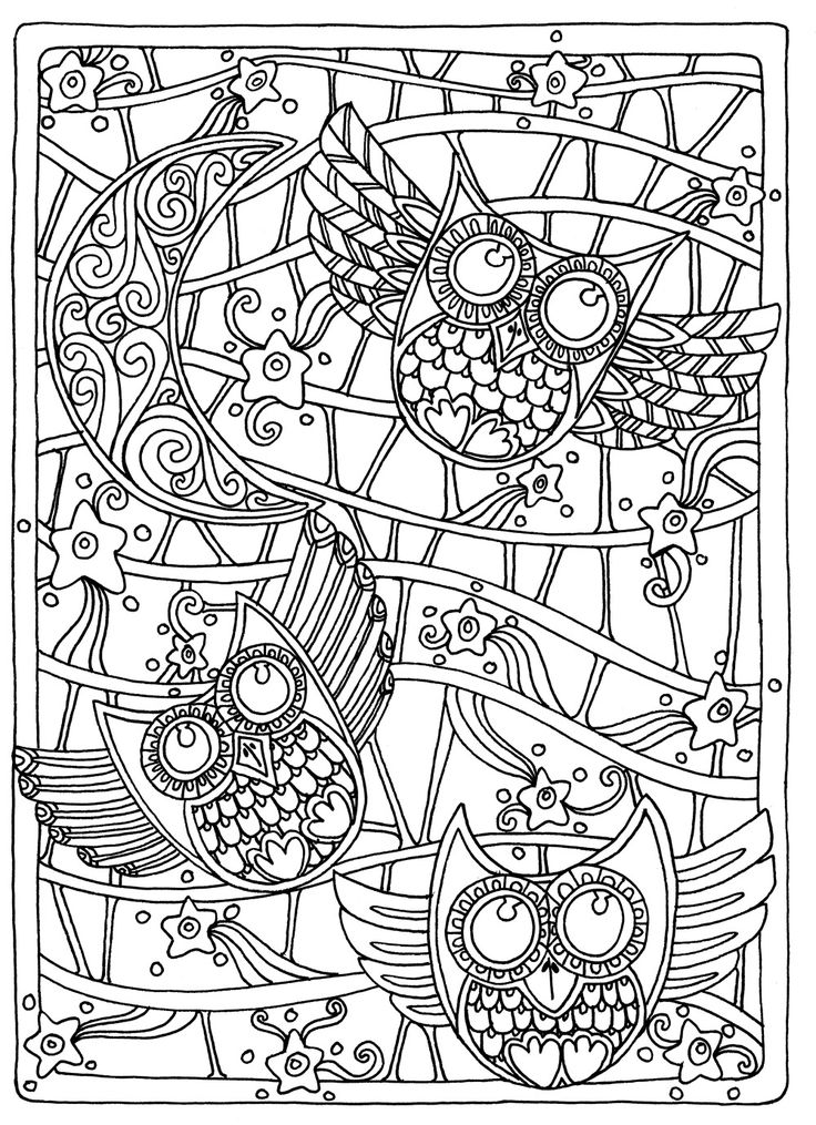 OWL Coloring Pages for Adults. Free Detailed Owl Coloring ... | coloring pages for adults online printable