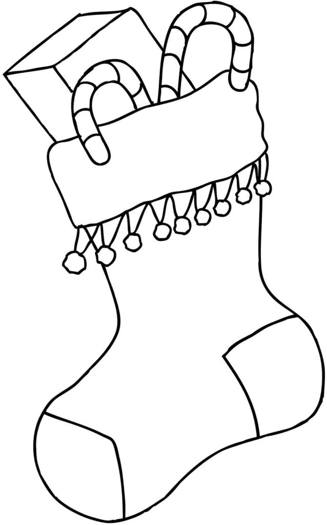 Easy Christmas Stockings With Toys Coloring Pages
