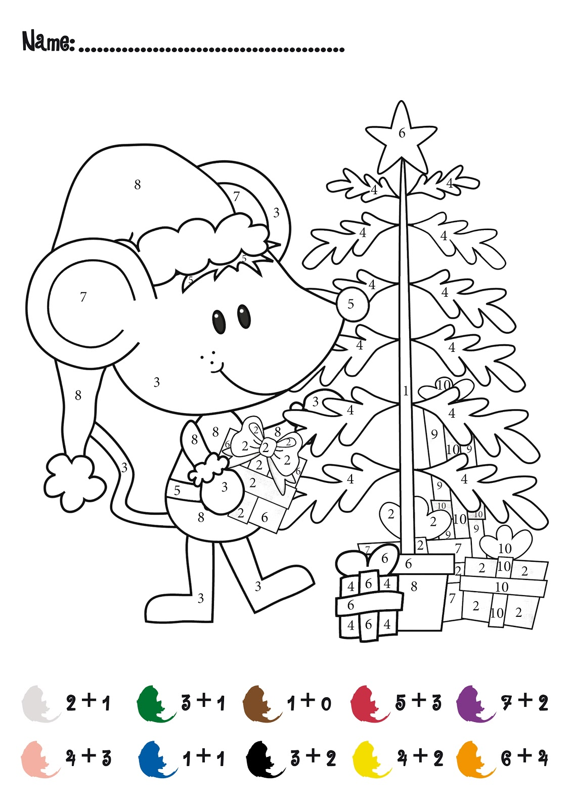Color by Number Addition - Best Coloring Pages For Kids | number coloring pages for kindergarten