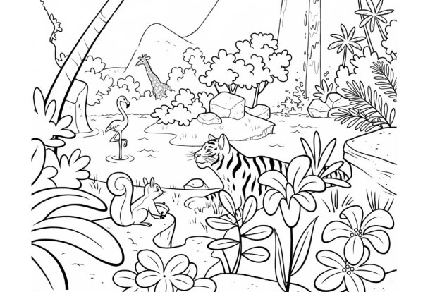 jungle coloring page # 0