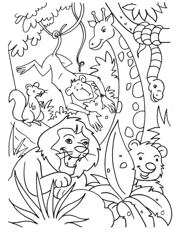 Jungle Coloring Pages - Best Coloring Pages For Kids | jungle animals coloring pages for toddlers