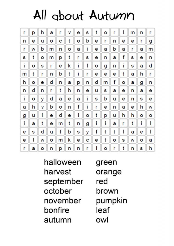Fall Word Search Best Coloring Pages For Kids