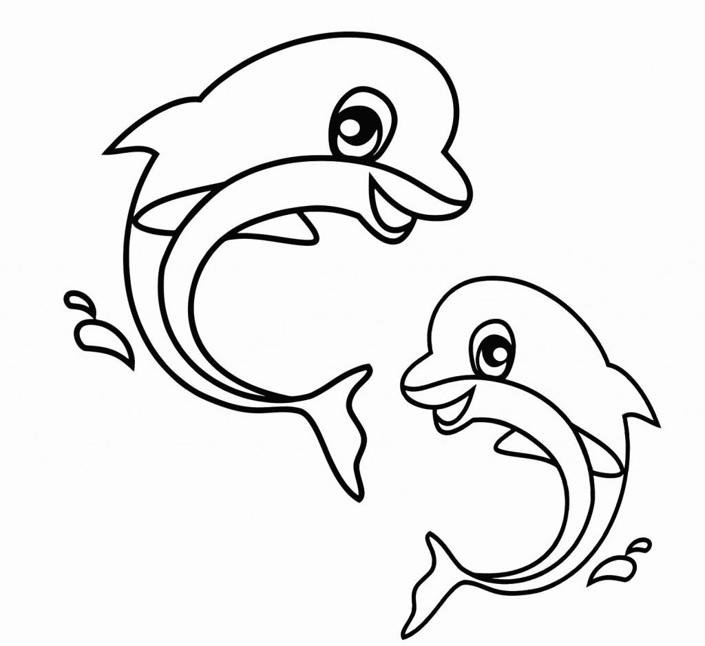Cute Dolphin Animal Coloring Page