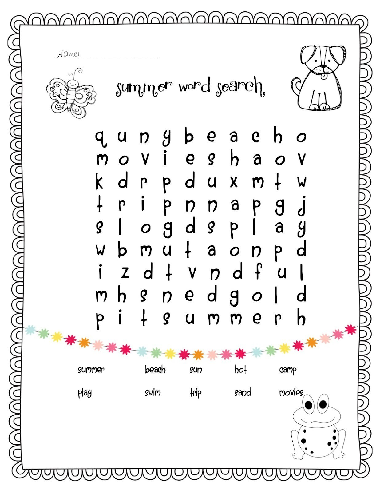 Easy Word Search For Kids
