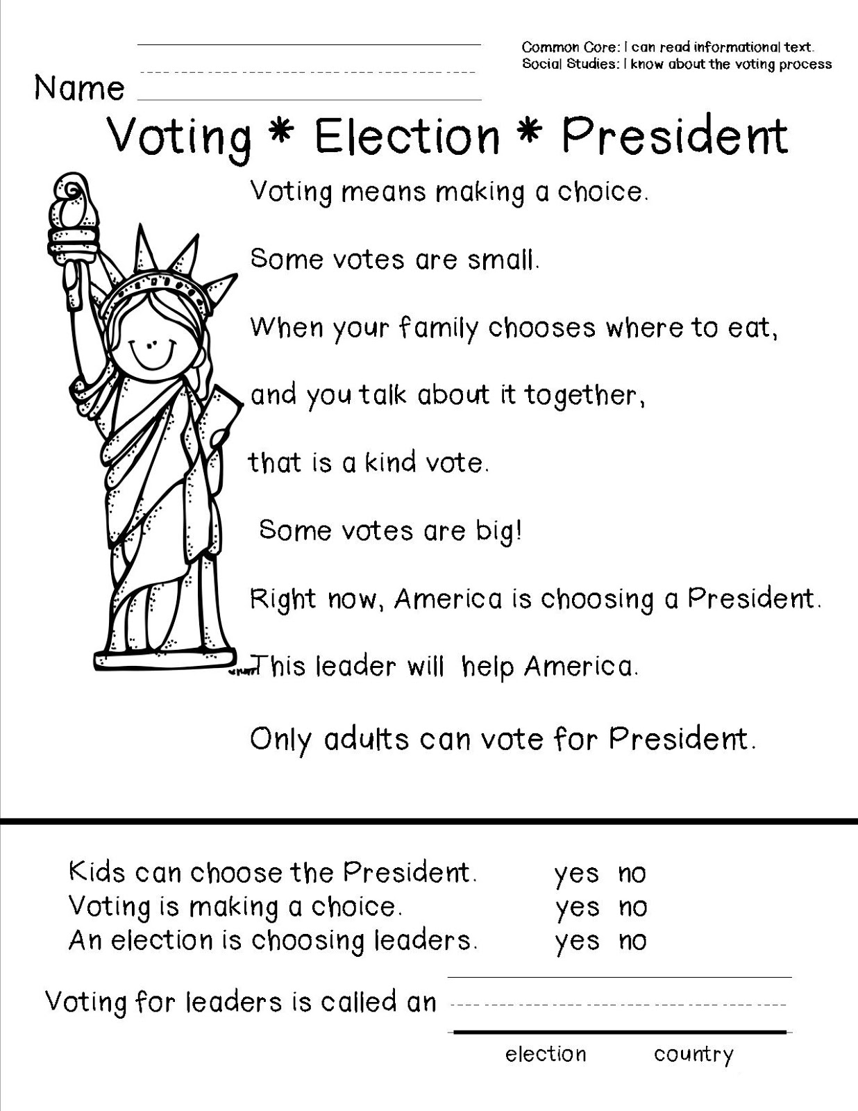 Presidents Day Worksheets