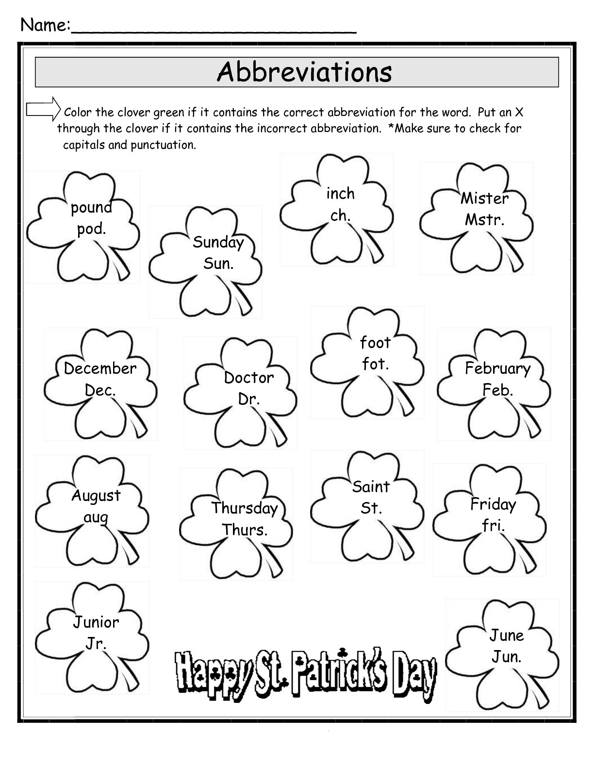 Rodents Worksheet Pa