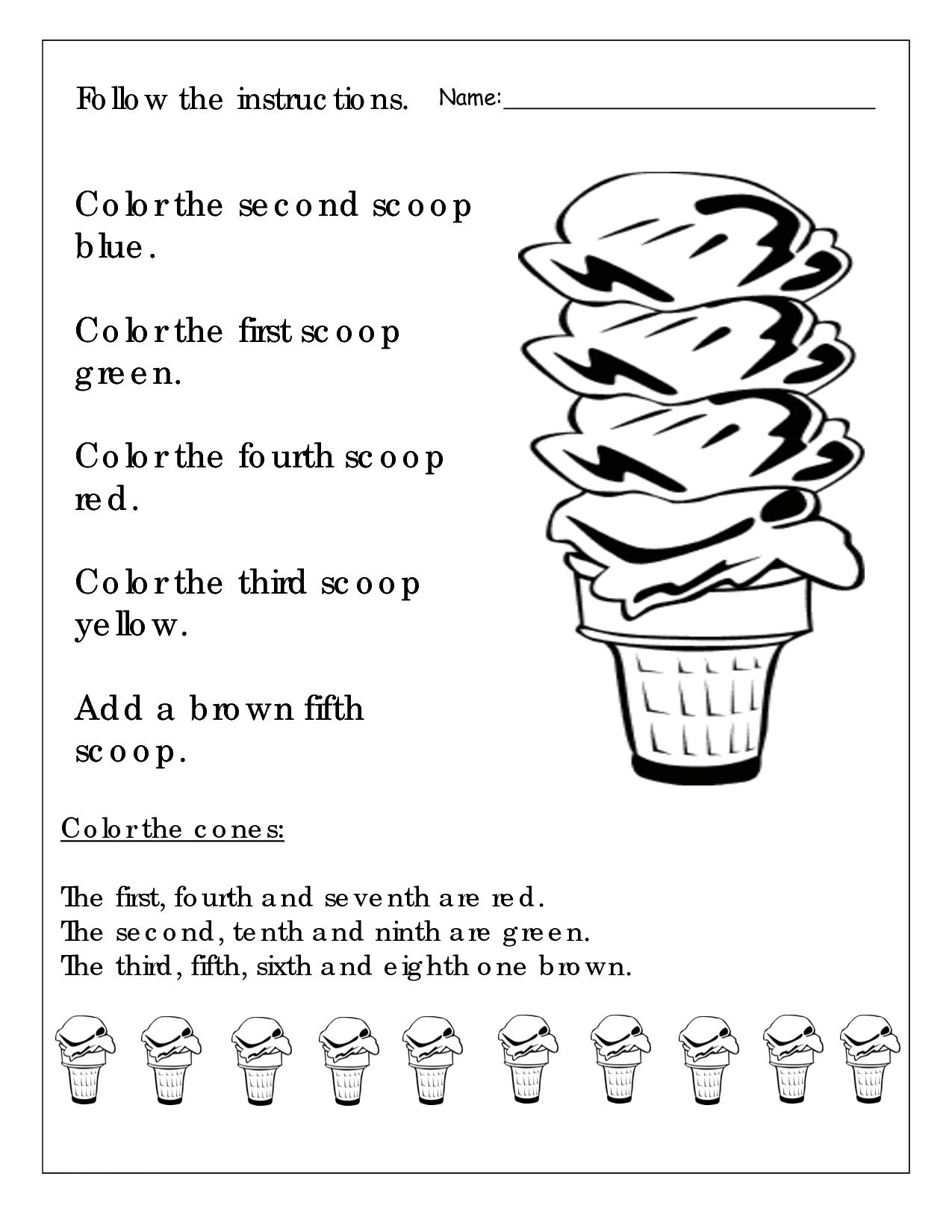1st Grade English Coloring Worksheet