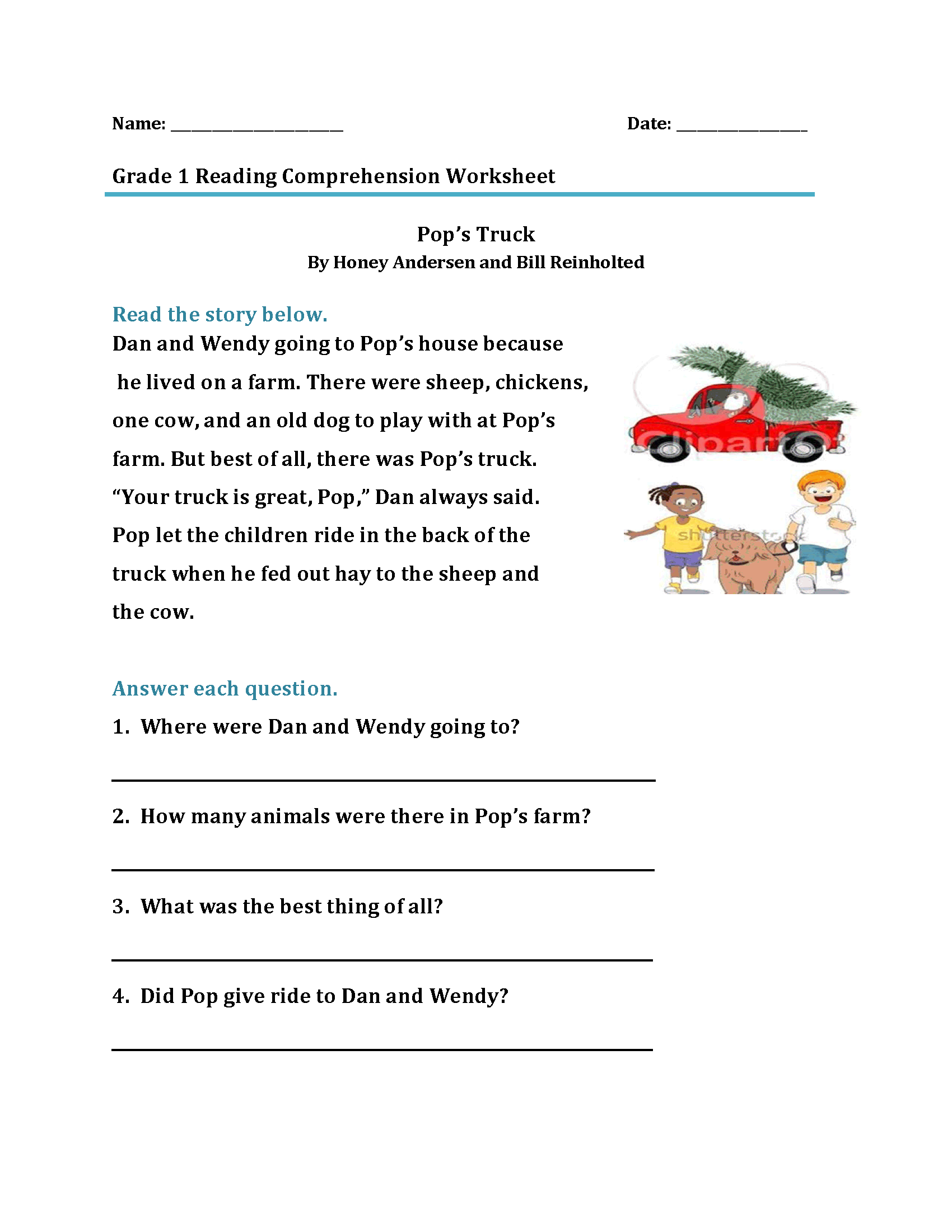 First Grade Comprehension Worksheet Printable