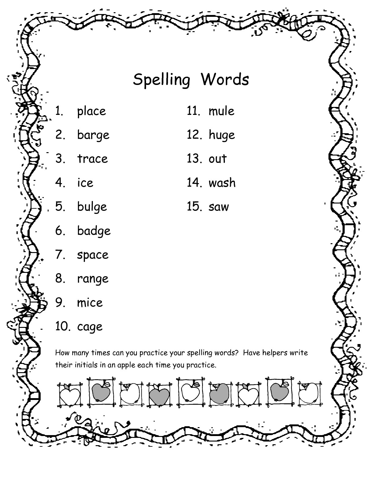 2nd Grade Spelling Words
