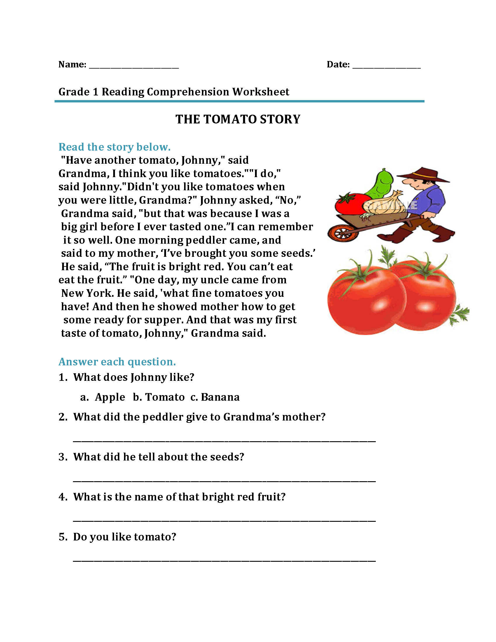 Nutrition Reading Comprehension Worksheets