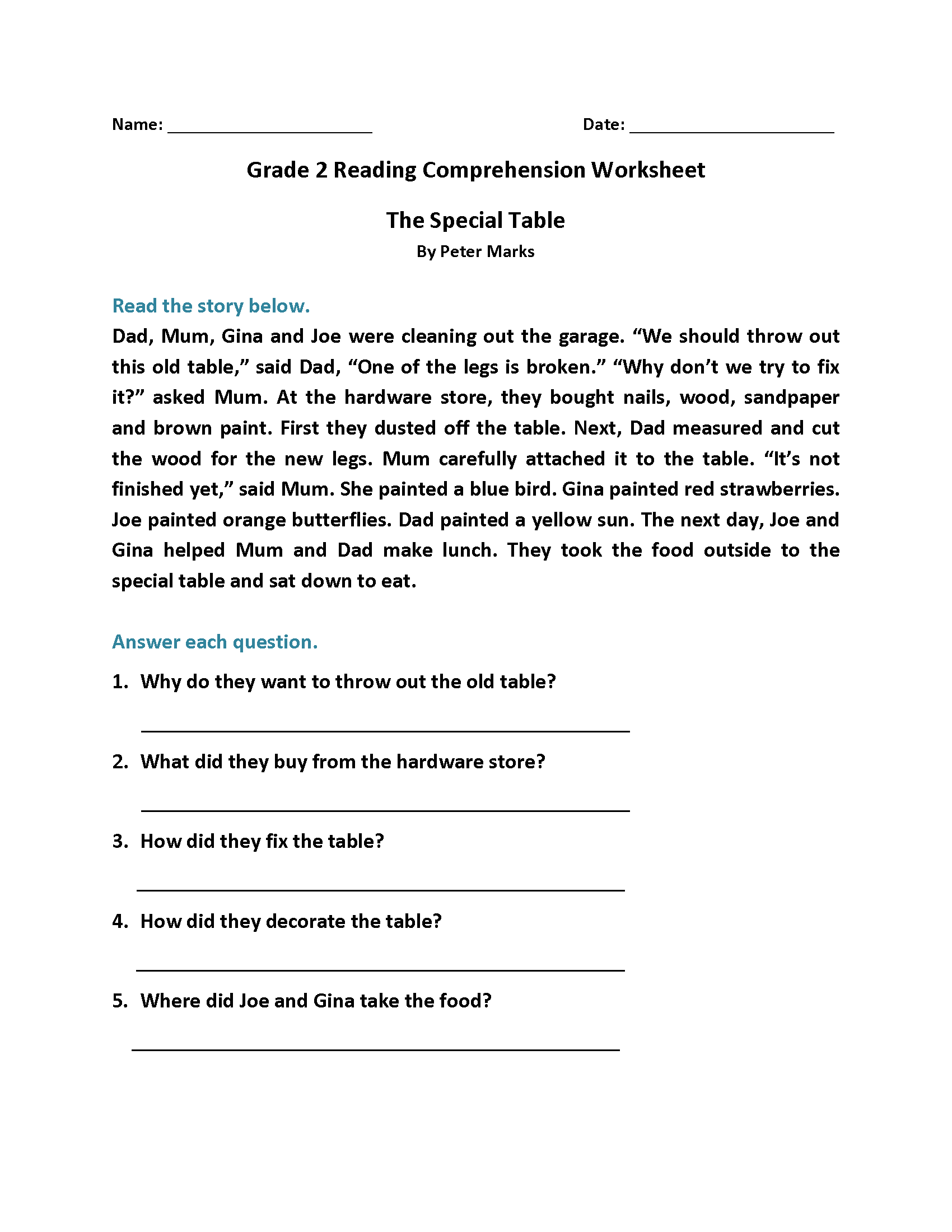- Free Reading Comprehension Worksheet Grade 2 Printable