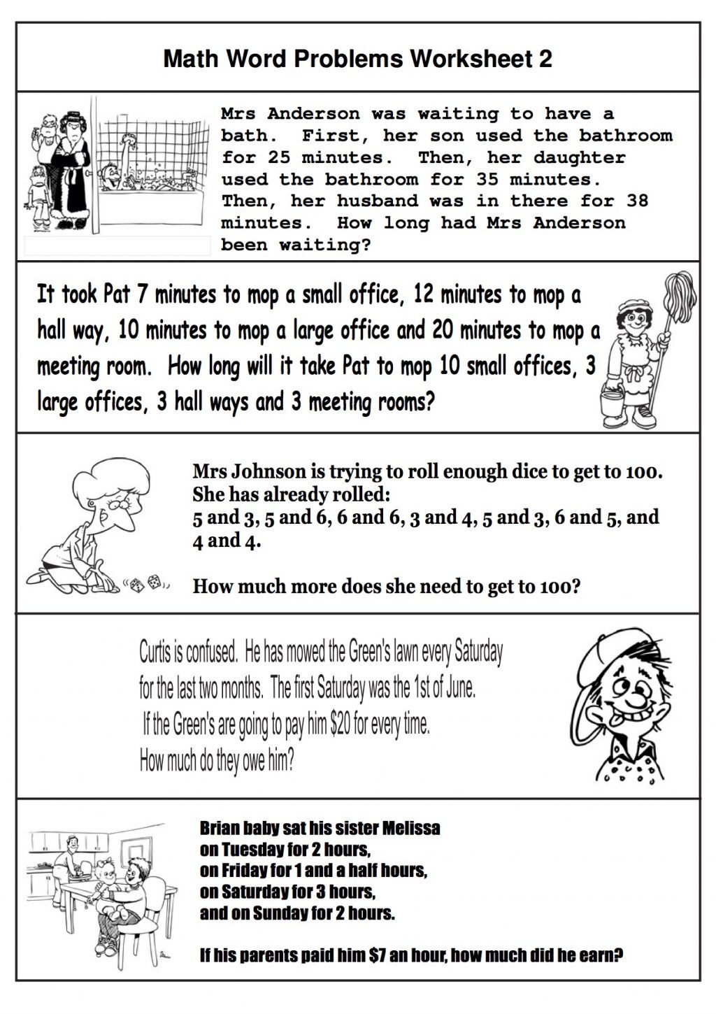 Word Problems Worksheet 2nd Grade