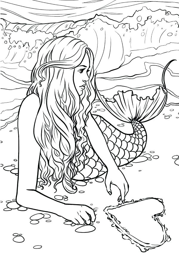 mermaid coloring pages for adults # 3