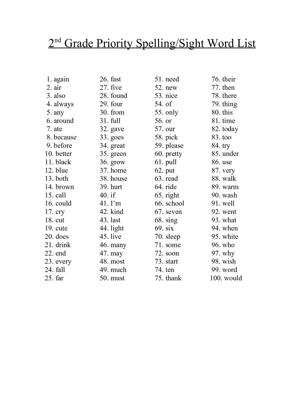 2nd Grade Spelling Words