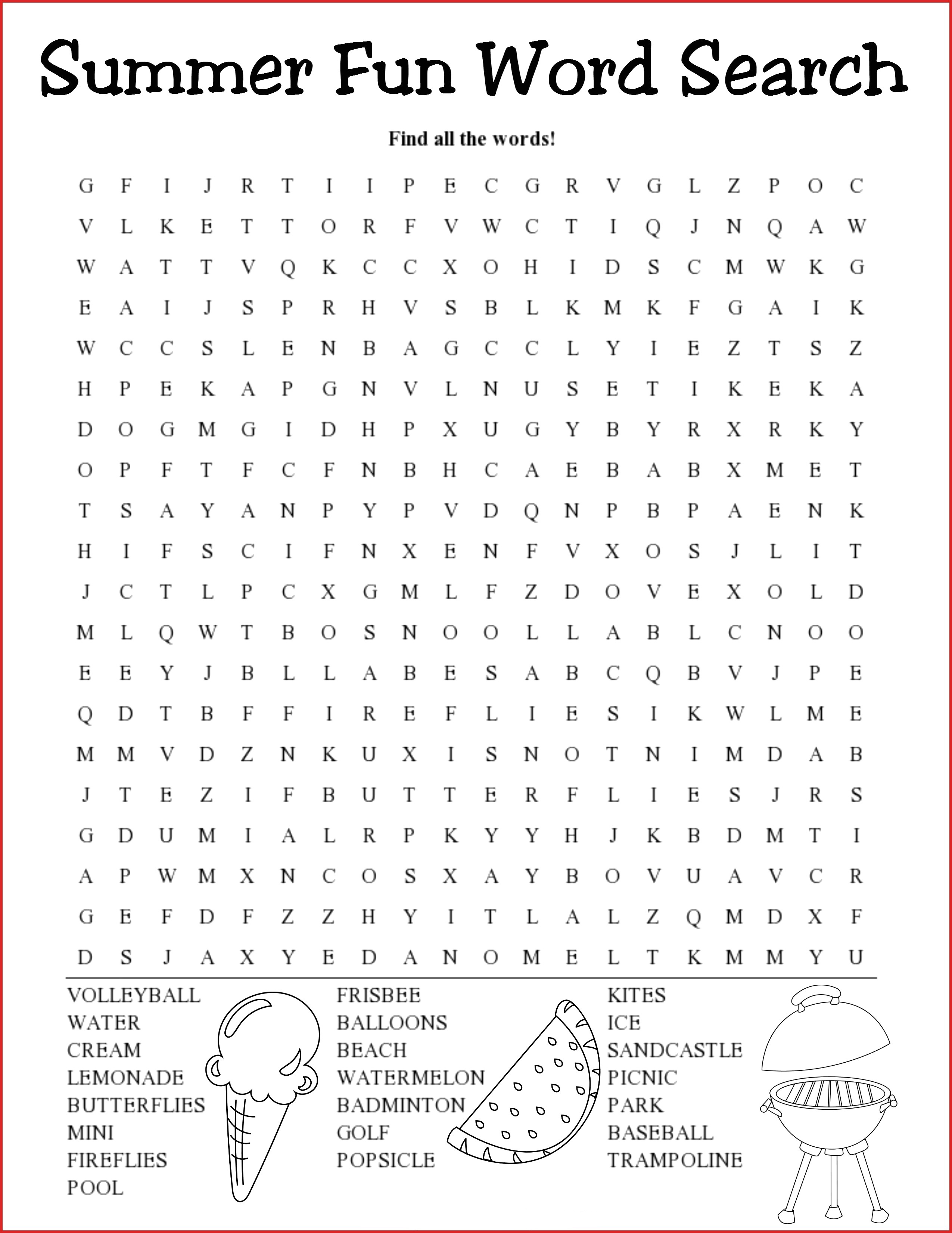 Summer Word Search Puzzles