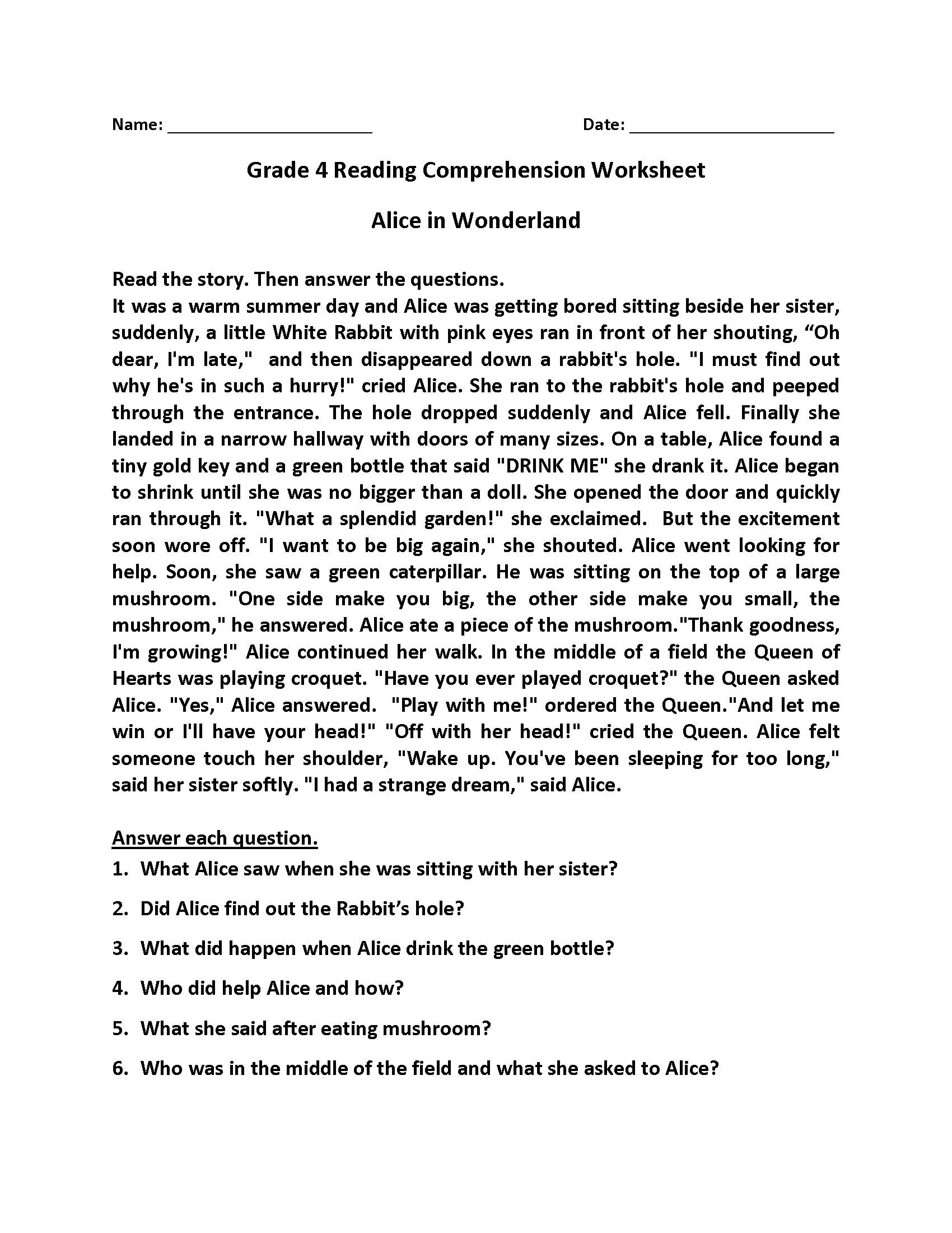 Best Reading Worksheet For Grade 4 4th Grade Reading