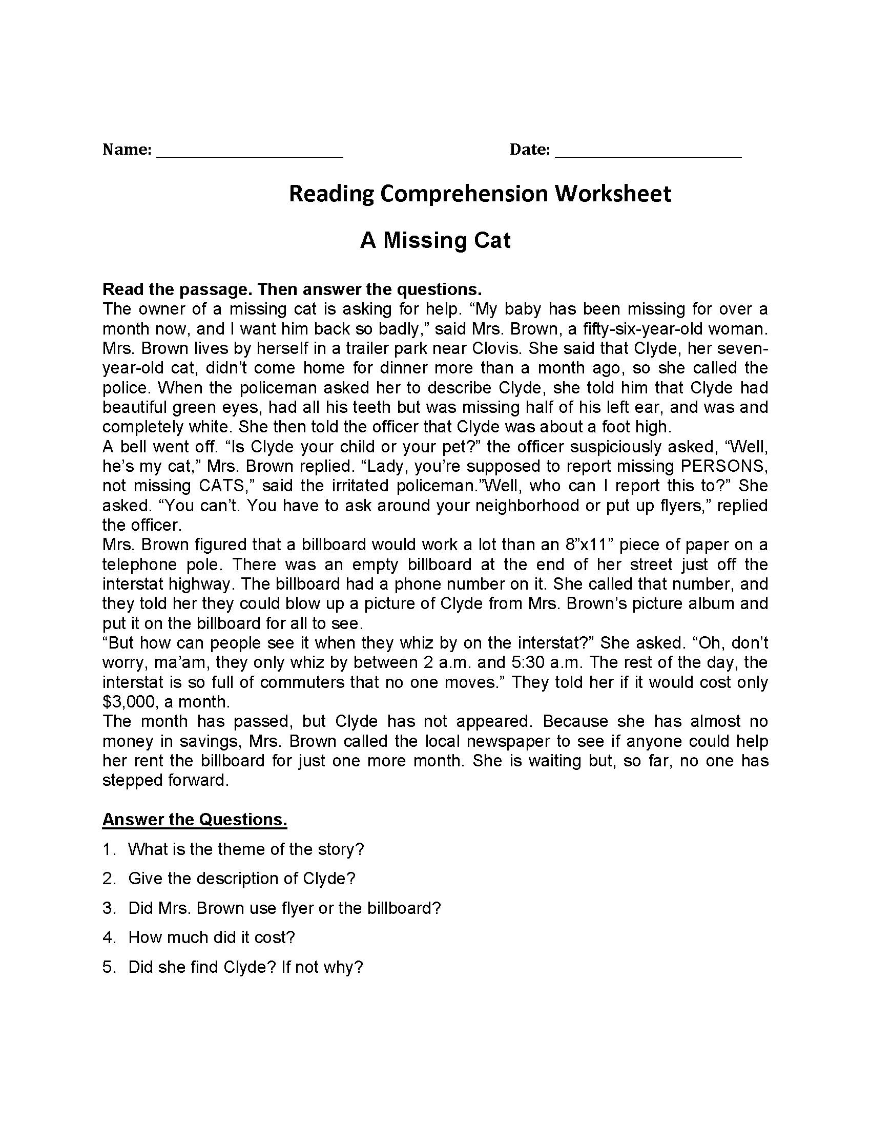 4th Grade Reading Worksheet Printable K5 Learning