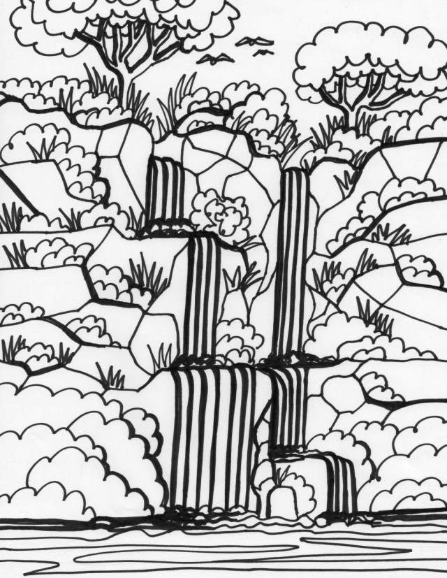 Waterfall Coloring Pages - Best Coloring Pages For Kids