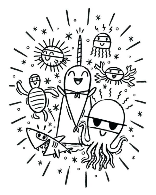 narwhal coloring page # 41